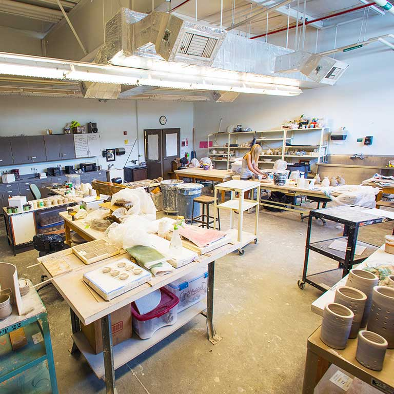 Interior of the ceramics studio.