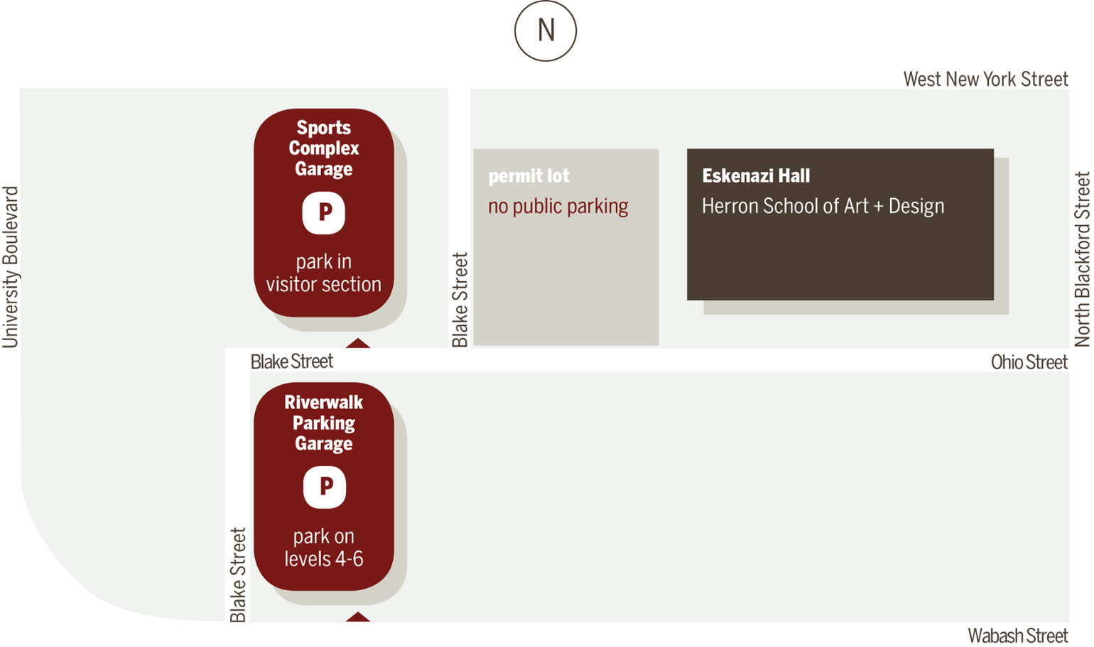 Map illustrating parking in relation to Eskenazi Hall