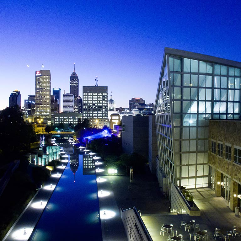 The Indianapolis skyline at night.