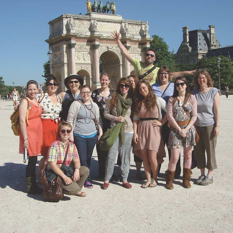 A group of Herron students take a photo in Italy.